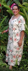Plus Size Hawaiian Aloha Rayon Dress - Orange Hibiscus