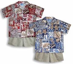 hawaiian symbols boy's 2pc cabana set