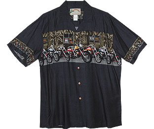 Motorcycle chest band hawaiian shirt is available in navy blue (blue